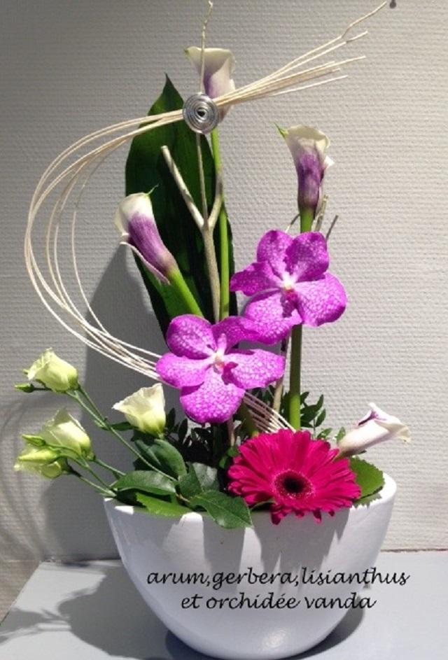 Création florale Orchidées et Arum